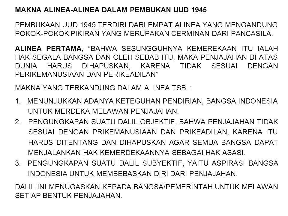 MAKNA ALINEA-ALINEA DALAM PEMBUKAN UUD 1945 PEMBUKAAN UUD 1945 TERDIRI DARI EMPAT ALINEA YANG MENGANDUNG POKOK-POKOK PIKIRAN YANG MERUPAKAN CERMINAN D