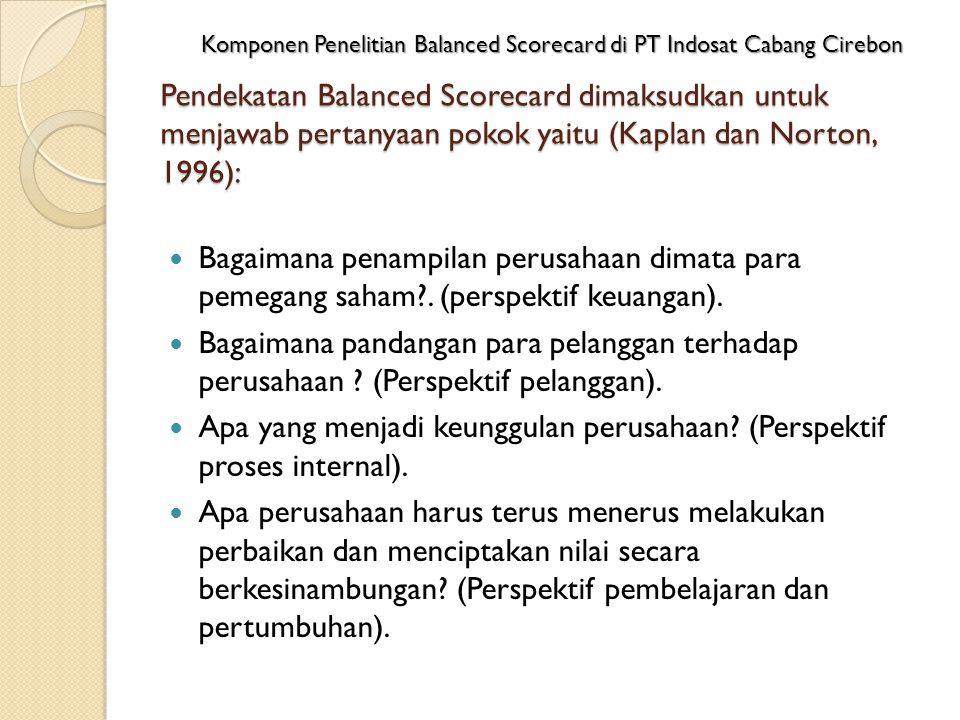 Pendekatan Balanced Scorecard dimaksudkan untuk menjawab pertanyaan pokok yaitu (Kaplan dan Norton, 1996): Bagaimana penampilan perusahaan dimata para pemegang saham .