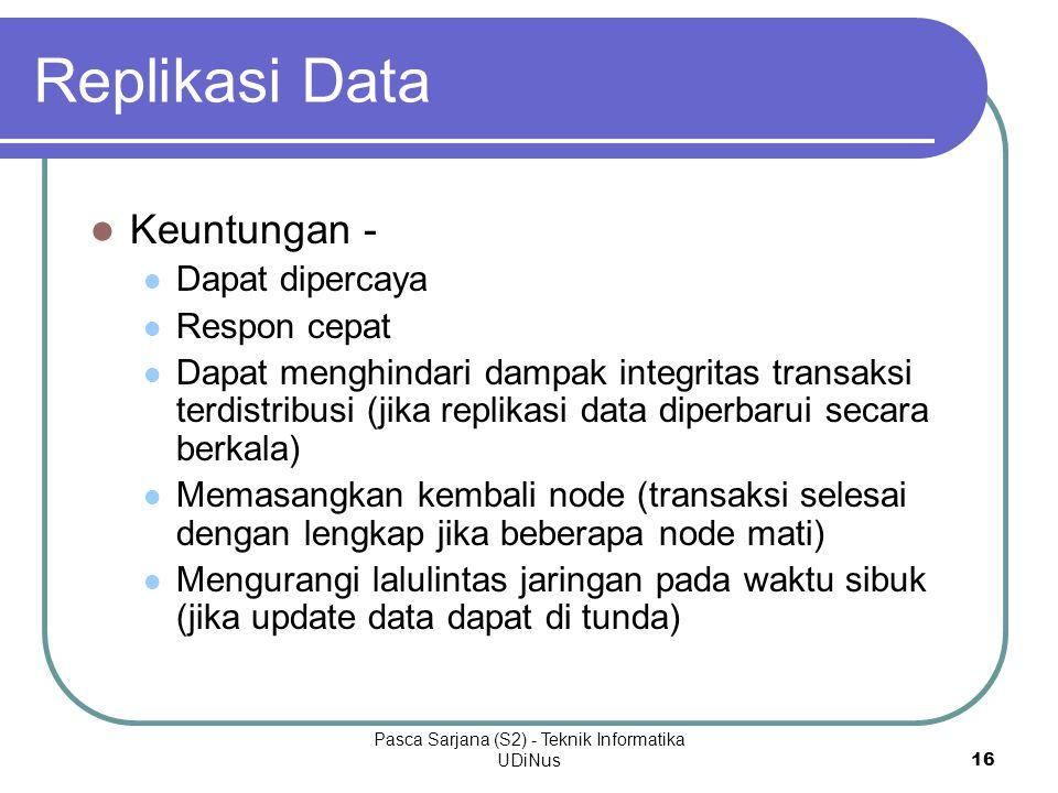 Pasca Sarjana (S2) - Teknik Informatika UDiNus16 Replikasi Data Keuntungan - Dapat dipercaya Respon cepat Dapat menghindari dampak integritas transaksi terdistribusi (jika replikasi data diperbarui secara berkala) Memasangkan kembali node (transaksi selesai dengan lengkap jika beberapa node mati) Mengurangi lalulintas jaringan pada waktu sibuk (jika update data dapat di tunda)
