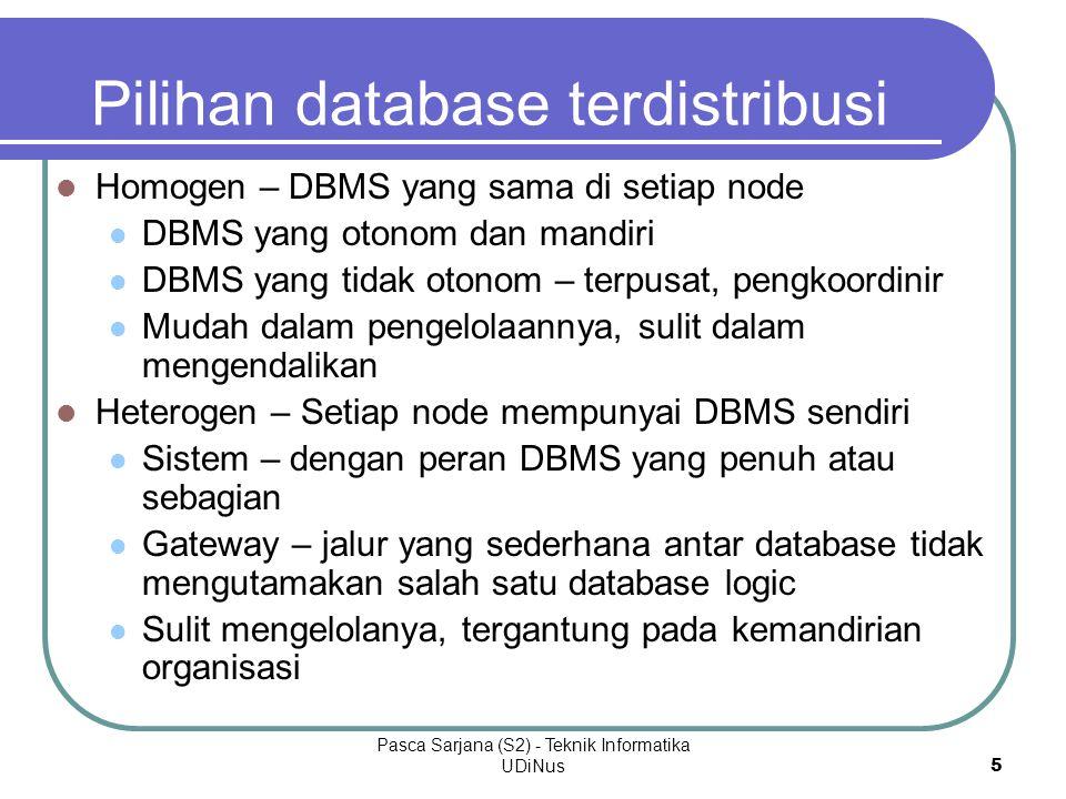 Pasca Sarjana (S2) - Teknik Informatika UDiNus5 Pilihan database terdistribusi Homogen – DBMS yang sama di setiap node DBMS yang otonom dan mandiri DBMS yang tidak otonom – terpusat, pengkoordinir Mudah dalam pengelolaannya, sulit dalam mengendalikan Heterogen – Setiap node mempunyai DBMS sendiri Sistem – dengan peran DBMS yang penuh atau sebagian Gateway – jalur yang sederhana antar database tidak mengutamakan salah satu database logic Sulit mengelolanya, tergantung pada kemandirian organisasi