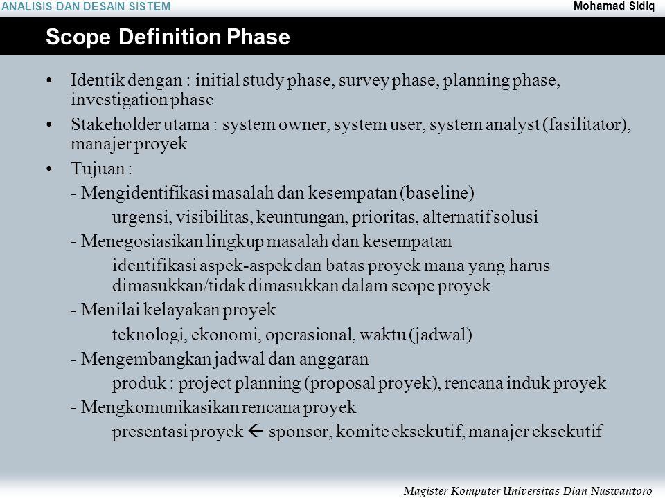 ANALISIS DAN DESAIN SISTEM Mohamad Sidiq Magister Komputer Universitas Dian Nuswantoro Scope Definition Phase Identik dengan : initial study phase, su