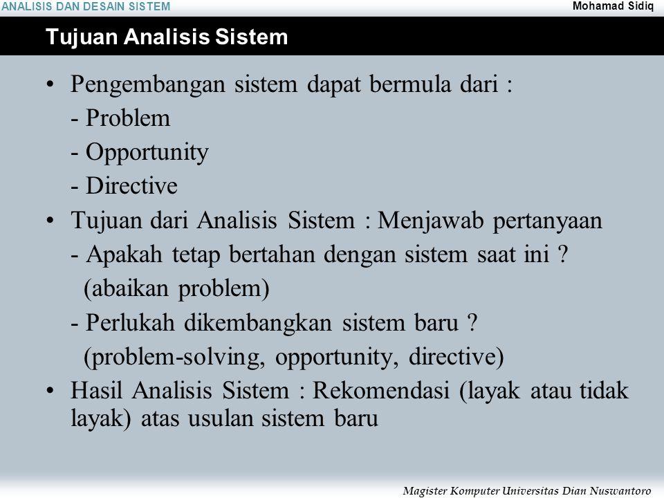ANALISIS DAN DESAIN SISTEM Mohamad Sidiq Magister Komputer Universitas Dian Nuswantoro Tujuan Analisis Sistem Pengembangan sistem dapat bermula dari : - Problem - Opportunity - Directive Tujuan dari Analisis Sistem :Menjawab pertanyaan - Apakah tetap bertahan dengan sistem saat ini .