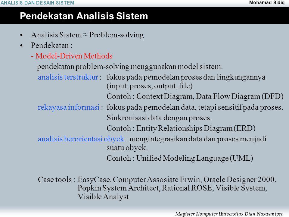 ANALISIS DAN DESAIN SISTEM Mohamad Sidiq Magister Komputer Universitas Dian Nuswantoro Pendekatan Analisis Sistem Analisis Sistem ≈ Problem-solving Pe