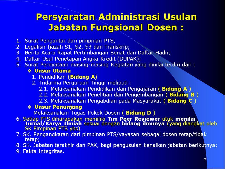 7 Persyaratan Administrasi Usulan Jabatan Fungsional Dosen : 1.Surat Pengantar dari pimpinan PTS; 2.Legalisir Ijazah S1, S2, S3 dan Transkrip; 3.Berit