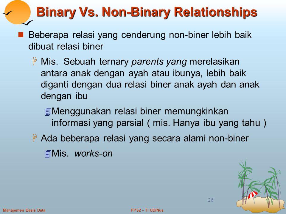 PPS2 – TI UDiNusManajemen Basis Data 28 Binary Vs. Non-Binary Relationships Beberapa relasi yang cenderung non-biner lebih baik dibuat relasi biner 
