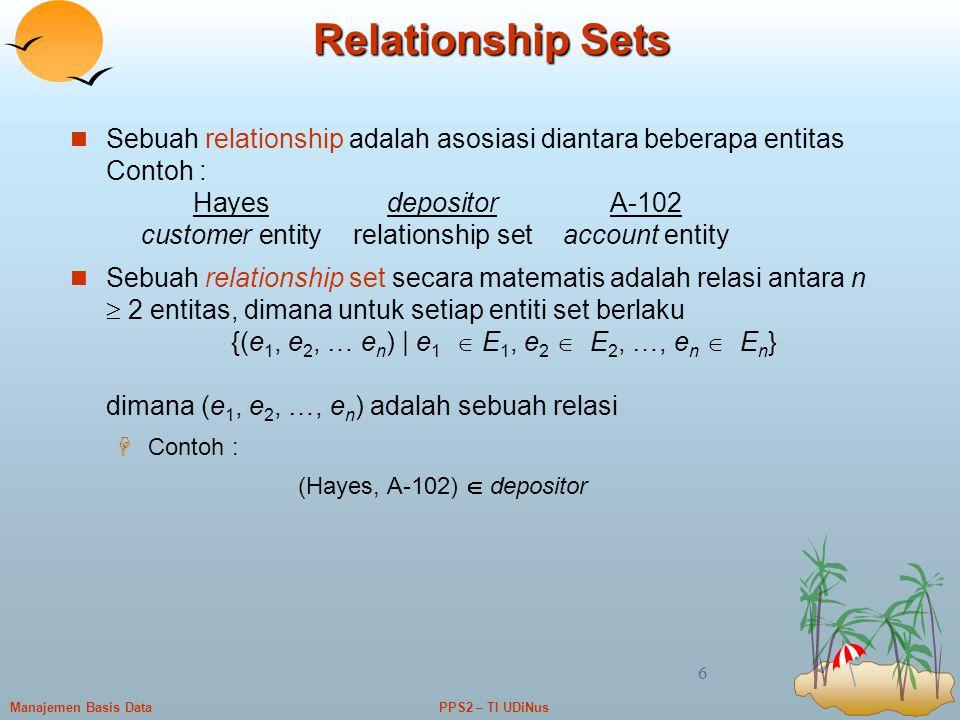 PPS2 – TI UDiNusManajemen Basis Data 6 Relationship Sets Sebuah relationship adalah asosiasi diantara beberapa entitas Contoh : HayesdepositorA-102 cu