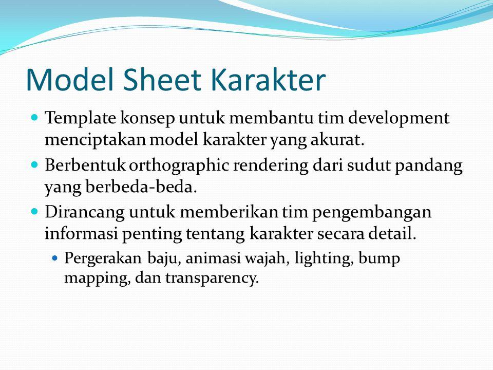Model Sheet Karakter Template konsep untuk membantu tim development menciptakan model karakter yang akurat. Berbentuk orthographic rendering dari sudu