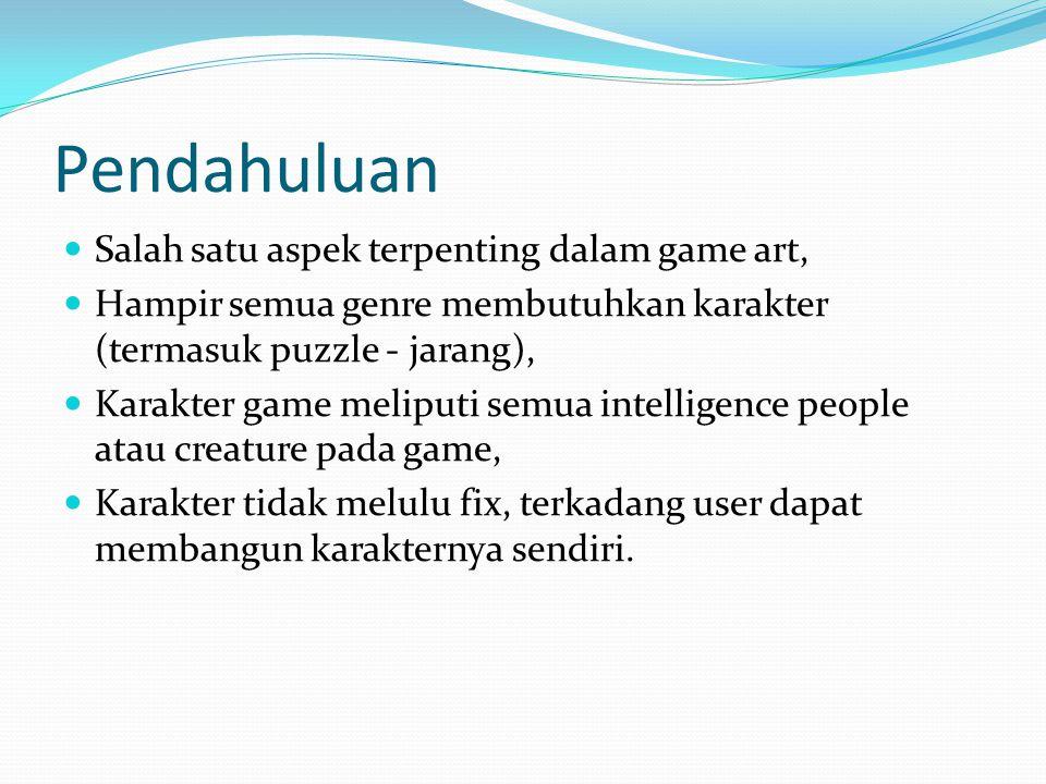 Tipe karakter game Player Character Karakter dikontrol oleh pemain, atau beberapa pemain Pada beberapa game satu player mengontrol satu karakter, beberapa satu player mengontrol banyak karakter (strategy, sport) Non-player Character (NPC) Terbagi dalam allies, facilitators, and decoration.