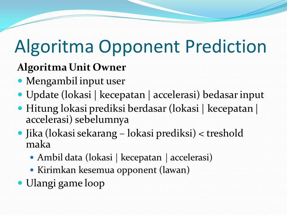 Algoritma Opponent Prediction Algoritma Unit Owner Mengambil input user Update (lokasi | kecepatan | accelerasi) bedasar input Hitung lokasi prediksi berdasar (lokasi | kecepatan | accelerasi) sebelumnya Jika (lokasi sekarang – lokasi prediksi) < treshold maka Ambil data (lokasi | kecepatan | accelerasi) Kirimkan kesemua opponent (lawan) Ulangi game loop