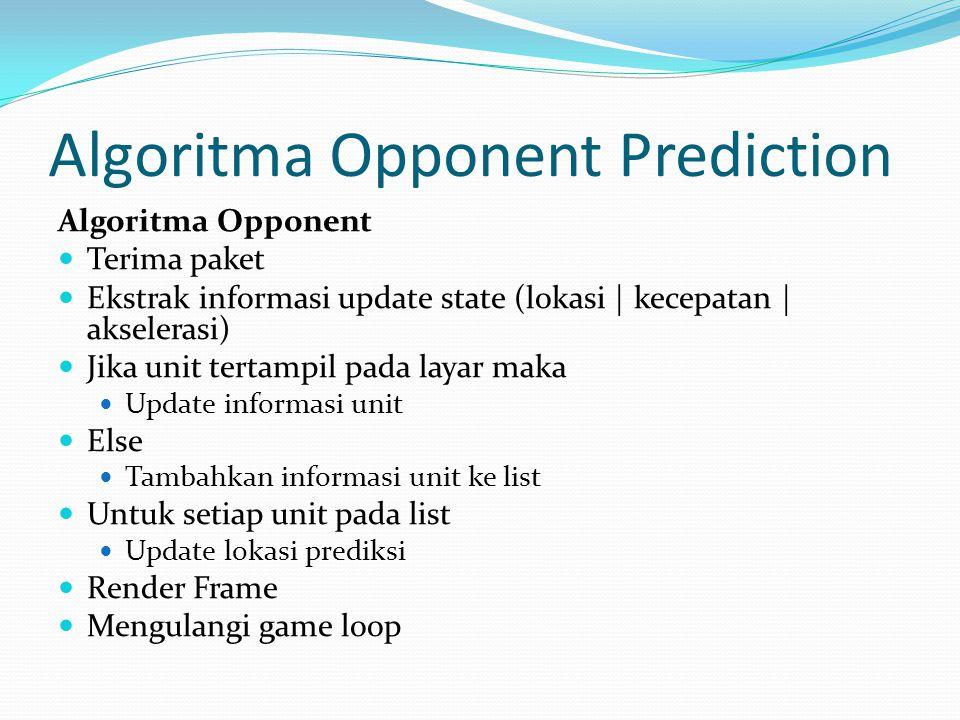 Algoritma Opponent Prediction Algoritma Opponent Terima paket Ekstrak informasi update state (lokasi | kecepatan | akselerasi) Jika unit tertampil pada layar maka Update informasi unit Else Tambahkan informasi unit ke list Untuk setiap unit pada list Update lokasi prediksi Render Frame Mengulangi game loop