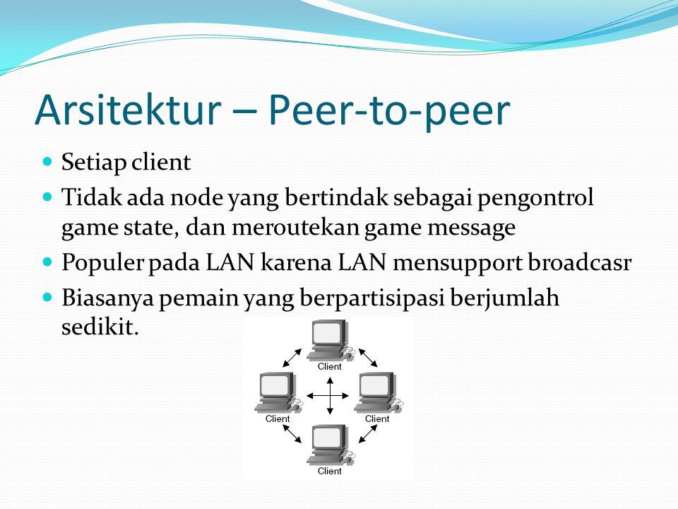 Arsitektur – Peer-to-peer Setiap client Tidak ada node yang bertindak sebagai pengontrol game state, dan meroutekan game message Populer pada LAN karena LAN mensupport broadcasr Biasanya pemain yang berpartisipasi berjumlah sedikit.