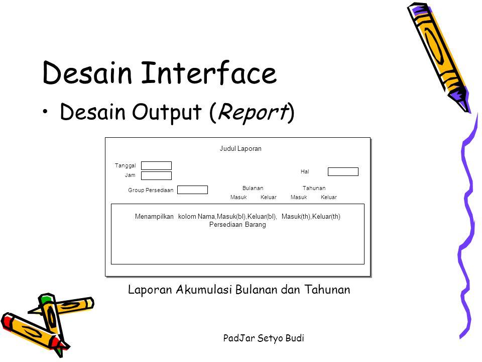 PadJar Setyo Budi Desain Interface Desain Output (Report) Laporan Akumulasi Bulanan dan Tahunan Menampilkan kolom Nama,Masuk(bl),Keluar(bl), Masuk(th)