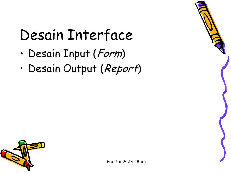 PadJar Setyo Budi Desain Interface Desain Input (Form) PilihKode BaruHapusTutup Cari Memasukkan Kode data barang yang dicari Grid yang menampilkan data persediaan barang Formulir Persediaan Barang