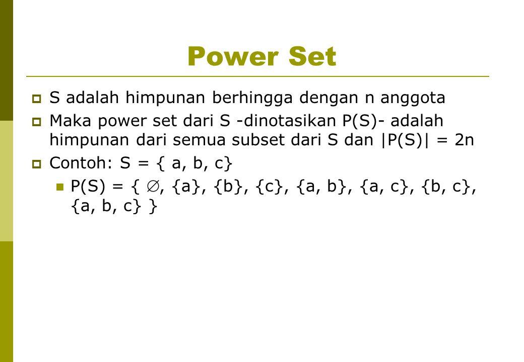 Power Set  S adalah himpunan berhingga dengan n anggota  Maka power set dari S -dinotasikan P(S)- adalah himpunan dari semua subset dari S dan |P(S)