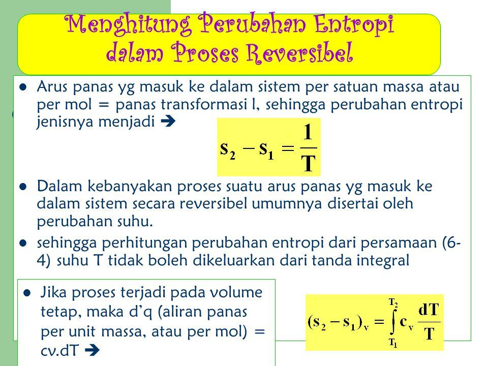 Menghitung Perubahan Entropi dalam Proses Reversibel Arus panas yg masuk ke dalam sistem per satuan massa atau per mol = panas transformasi l, sehingg