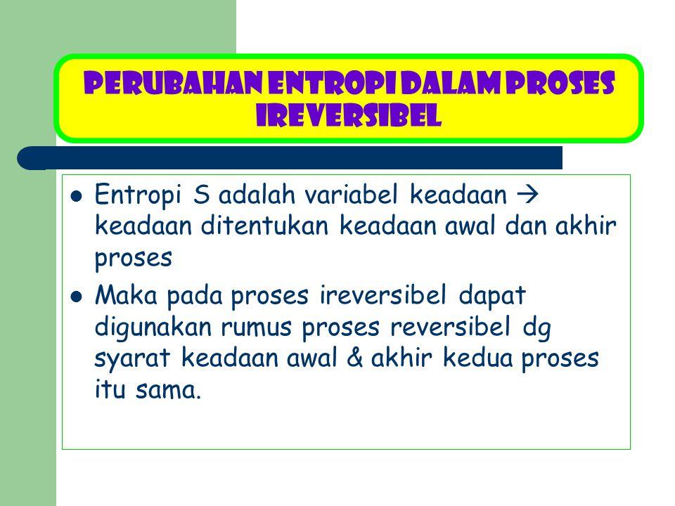 Perubahan Entropi dalam Proses Ireversibel Entropi S adalah variabel keadaan  keadaan ditentukan keadaan awal dan akhir proses Maka pada proses ireve