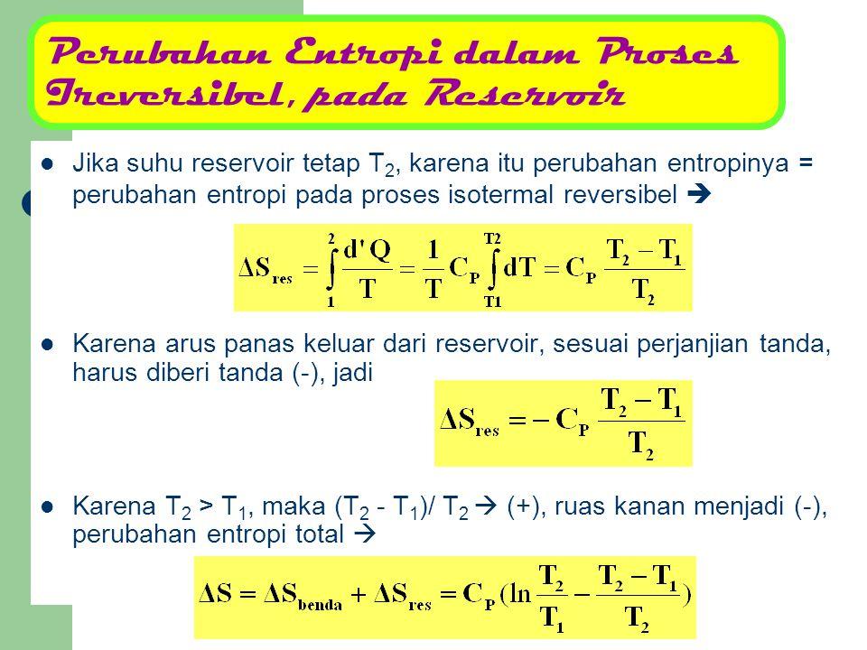 Perubahan Entropi dalam Proses Ireversibel, pada Reservoir Jika suhu reservoir tetap T 2, karena itu perubahan entropinya = perubahan entropi pada pro