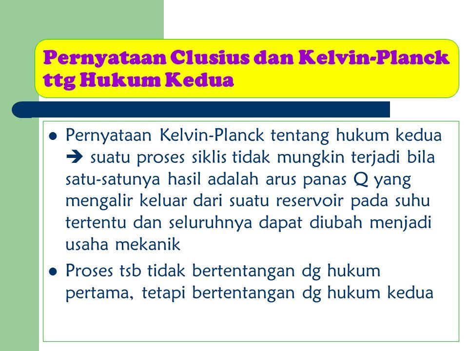 Pernyataan Kelvin-Planck tentang hukum kedua  suatu proses siklis tidak mungkin terjadi bila satu-satunya hasil adalah arus panas Q yang mengalir kel