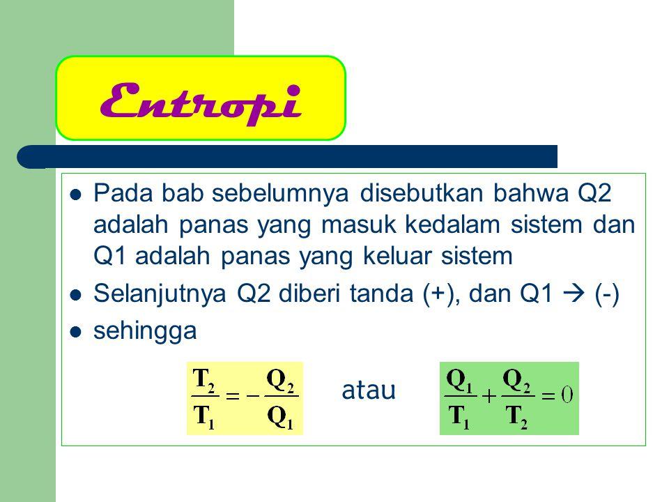 Entropi Pada bab sebelumnya disebutkan bahwa Q2 adalah panas yang masuk kedalam sistem dan Q1 adalah panas yang keluar sistem Selanjutnya Q2 diberi ta