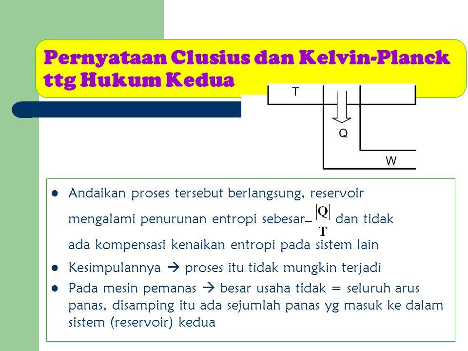 Pernyataan Clusius dan Kelvin-Planck ttg Hukum Kedua Andaikan proses tersebut berlangsung, reservoir mengalami penurunan entropi sebesar dan tidak ada