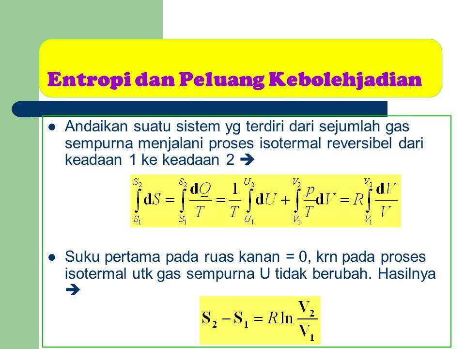Entropi dan Peluang Kebolehjadian Andaikan suatu sistem yg terdiri dari sejumlah gas sempurna menjalani proses isotermal reversibel dari keadaan 1 ke