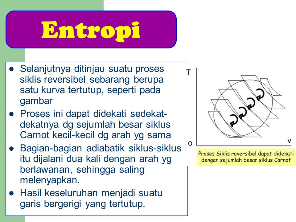Asas Kenaikan Entropi Karena itu dapat dikatakan bahwa entropi dari suatu sistem yang terisolasi sempurna selalu naik dalam tiap proses ireversibel yg terjadi dalam sistem Sementara itu entropi tetap tidak berubah dalam sistem yang terisolasi jika sistem itu menjalani proses reversibel, maka hukum kedua termodinamika dapat dirumuskan : Pada setiap proses yg terjadi di dalam sistem yg terisolasi, entropi sistem tsb selalu naik atau tetap tidak berubah