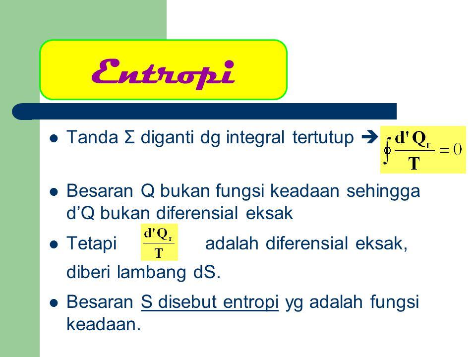 Besaran S disebut entropi yg adalah fungsi keadaan  Satuan S  J.K -1 (SI, MKS) Entropi adalah besaran ekstensif yang bila dibagi dengan jumlah massa m atau jumlah mol n  entropi jenis (s)  atau Satuan s  J.kg -1.