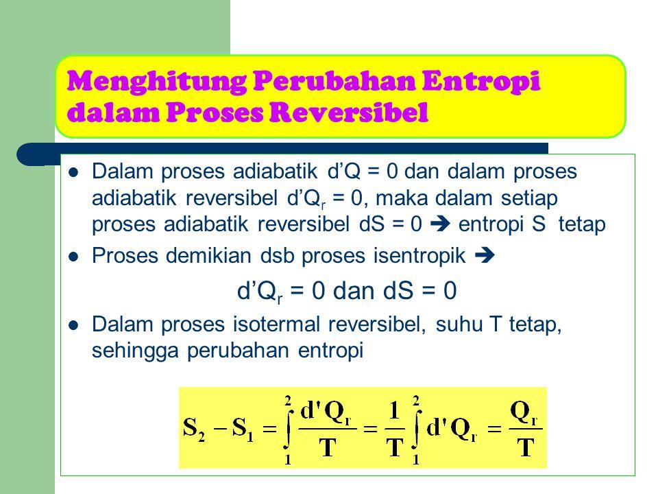 Menghitung Perubahan Entropi dalam Proses Reversibel Untuk melaksanakan proses semacam ini, maka sistem dihubungkan dengan sebuah reservoir yg suhunya berbeda Jika arus panas mengalir masuk ke dalam sistem, maka Q r positif, dan entropi sistem naik, demikian sebaliknya Contoh proses isotermal reversibel  perubahan fase pada tekanan tetap