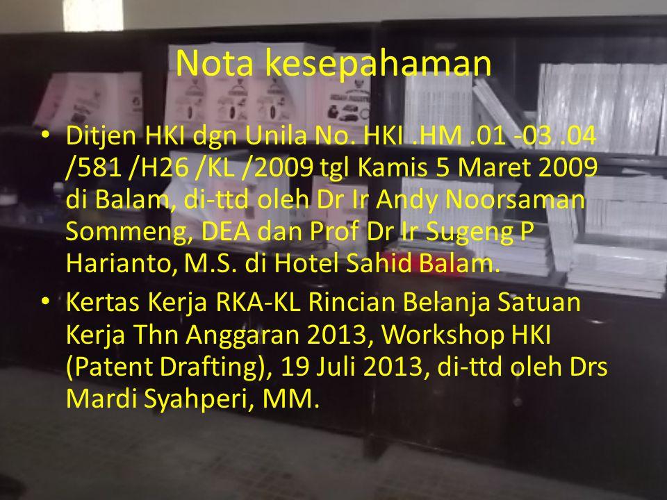 Nota kesepahaman Ditjen HKI dgn Unila No.