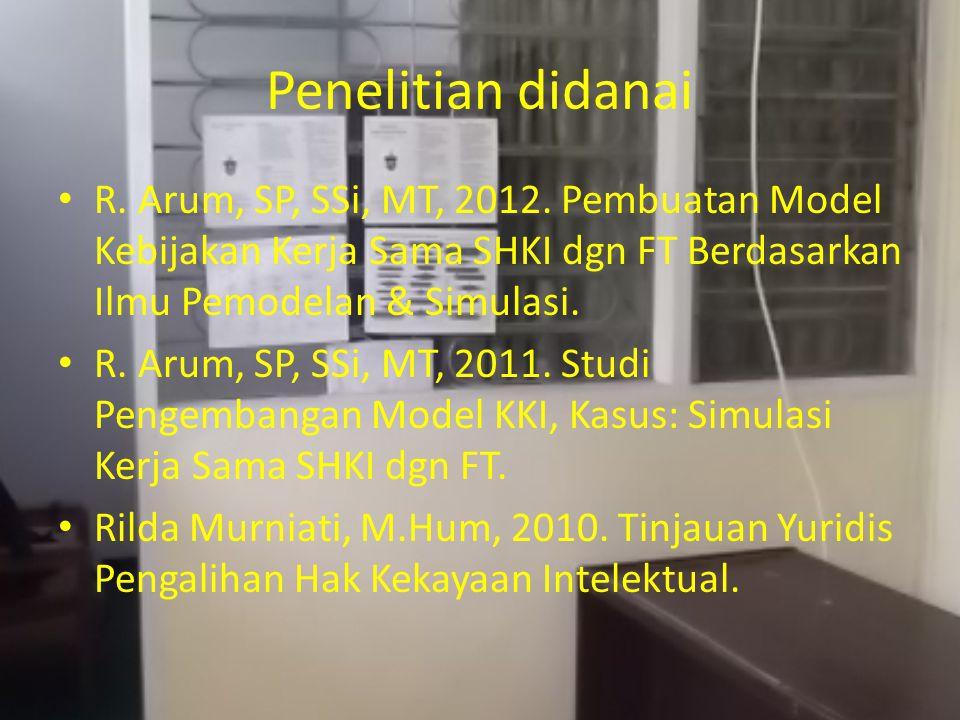 Penelitian didanai R. Arum, SP, SSi, MT, 2012.