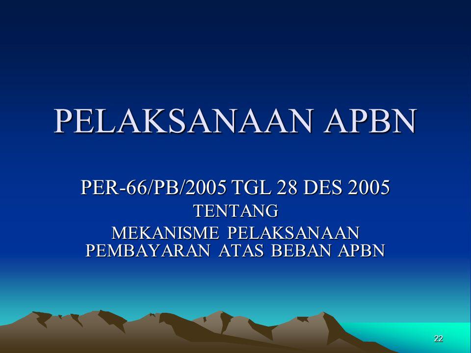 22 PELAKSANAAN APBN PER-66/PB/2005 TGL 28 DES 2005 TENTANG MEKANISME PELAKSANAAN PEMBAYARAN ATAS BEBAN APBN