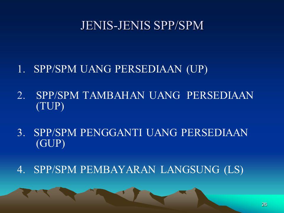 26 JENIS-JENIS SPP/SPM 1. SPP/SPM UANG PERSEDIAAN (UP) 2.SPP/SPM TAMBAHAN UANG PERSEDIAAN (TUP) 3. SPP/SPM PENGGANTI UANG PERSEDIAAN (GUP) 4. SPP/SPM