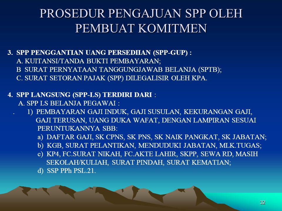 32 PROSEDUR PENGAJUAN SPP OLEH PEMBUAT KOMITMEN 3. SPP PENGGANTIAN UANG PERSEDIIAN (SPP-GUP) : A. KUITANSI/TANDA BUKTI PEMBAYARAN; B SURAT PERNYATAAN