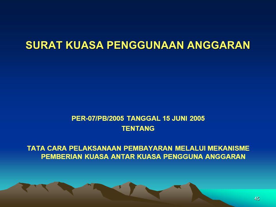 45 SURAT KUASA PENGGUNAAN ANGGARAN PER-07/PB/2005 TANGGAL 15 JUNI 2005 TENTANG TATA CARA PELAKSANAAN PEMBAYARAN MELALUI MEKANISME PEMBERIAN KUASA ANTA