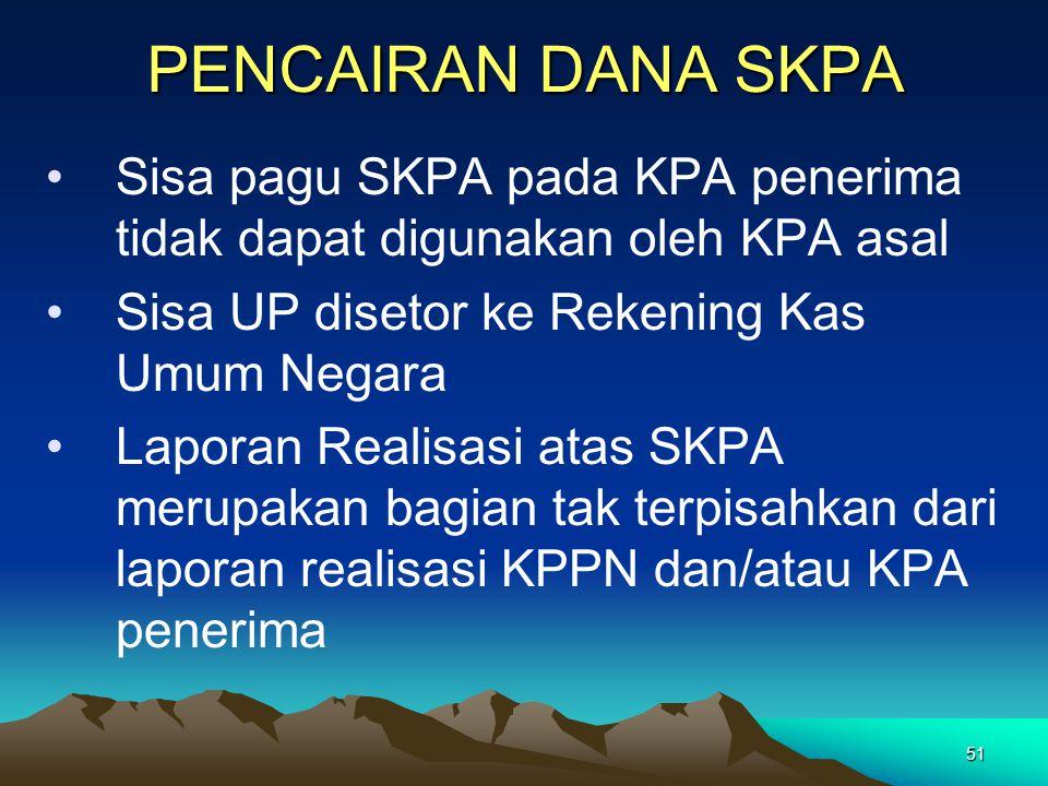 51 PENCAIRAN DANA SKPA Sisa pagu SKPA pada KPA penerima tidak dapat digunakan oleh KPA asal Sisa UP disetor ke Rekening Kas Umum Negara Laporan Realis