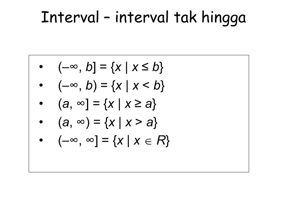Interval – interval tak hingga (–∞, b] = {x | x ≤ b} (–∞, b) = {x | x < b} (a, ∞] = {x | x ≥ a} (a, ∞) = {x | x > a} (–∞, ∞] = {x | x  R}