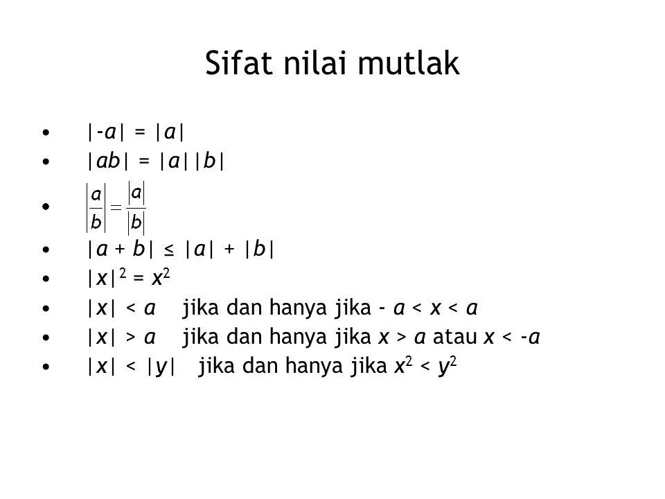 Sifat nilai mutlak |-a| = |a| |ab| = |a||b| |a + b| ≤ |a| + |b| |x| 2 = x 2 |x| < a jika dan hanya jika - a < x < a |x| > a jika dan hanya jika x > a