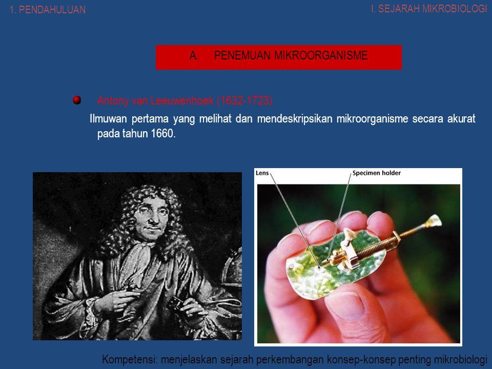 Antony van Leeuwenhoek (1632-1723) Ilmuwan pertama yang melihat dan mendeskripsikan mikroorganisme secara akurat pada tahun 1660.