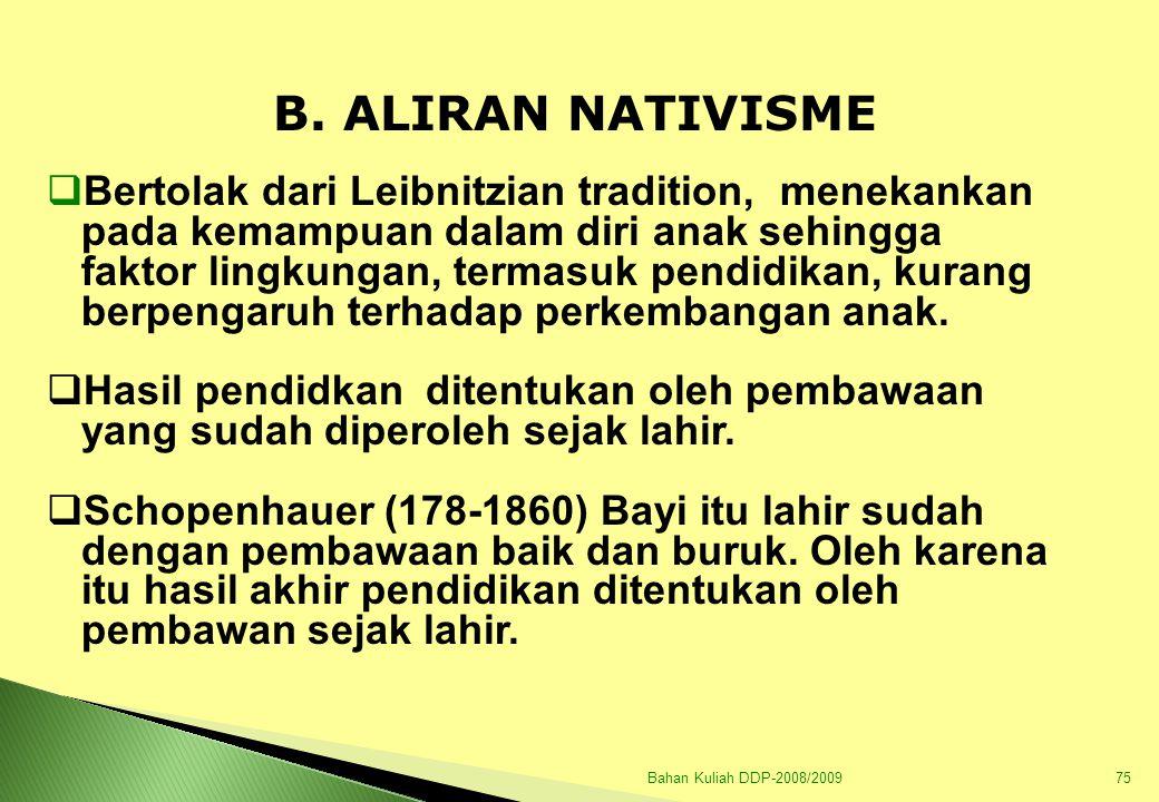 Bahan Kuliah DDP-2008/200976  Bagi nativisme lingkungan sekitar tidak ada artinya sebab lingkungan tidak akan berdaya dalam mempengaruhi perkembangan anak.
