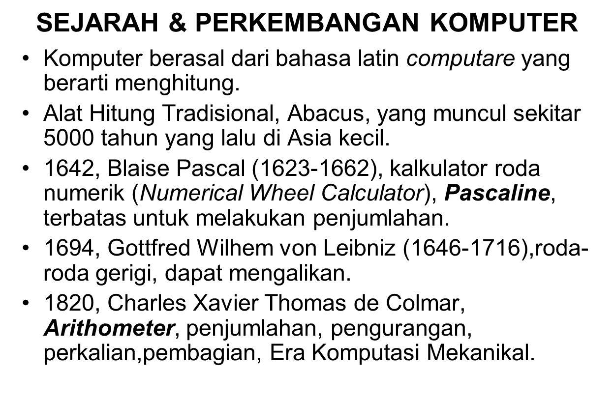 SEJARAH & PERKEMBANGAN KOMPUTER Komputer berasal dari bahasa latin computare yang berarti menghitung. Alat Hitung Tradisional, Abacus, yang muncul sek