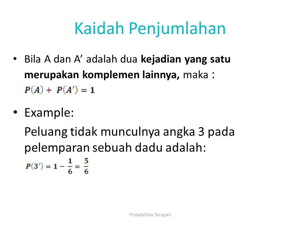 Kaidah Penjumlahan Bila A dan A' adalah dua kejadian yang satu merupakan komplemen lainnya, maka : Example: Peluang tidak munculnya angka 3 pada pelem