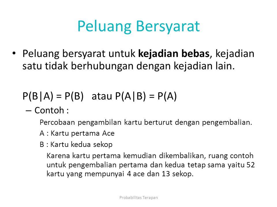 Peluang Bersyarat Peluang bersyarat untuk kejadian bebas, kejadian satu tidak berhubungan dengan kejadian lain. P(B|A) = P(B) atau P(A|B) = P(A) – Con