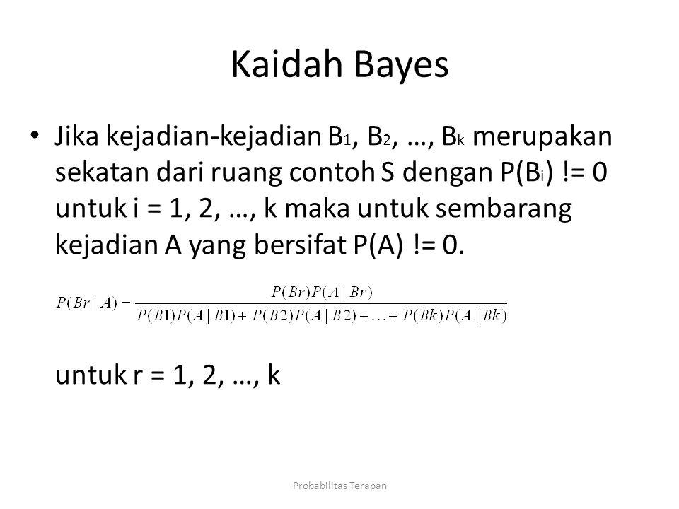 Kaidah Bayes Jika kejadian-kejadian B 1, B 2, …, B k merupakan sekatan dari ruang contoh S dengan P(B i ) != 0 untuk i = 1, 2, …, k maka untuk sembara