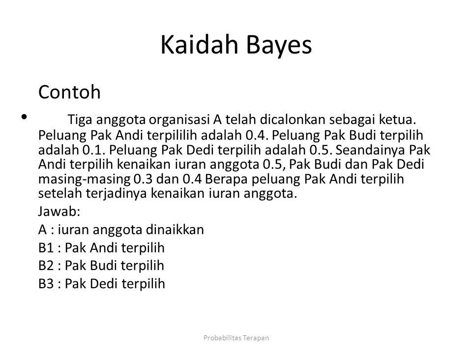Kaidah Bayes Contoh Tiga anggota organisasi A telah dicalonkan sebagai ketua. Peluang Pak Andi terpililih adalah 0.4. Peluang Pak Budi terpilih adalah