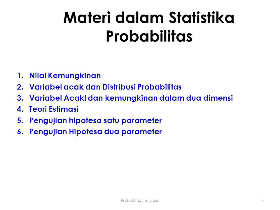 Materi dalam Statistika Probabilitas 7 1.Nilai Kemungkinan 2.Variabel acak dan Distribusi Probabilitas 3.Variabel Acakl dan kemungkinan dalam dua dime