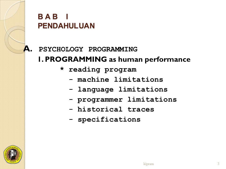 B A B I PENDAHULUAN A. PSYCHOLOGY PROGRAMMING 1. PROGRAMMING as human performance * reading program - machine limitations - language limitations - pro
