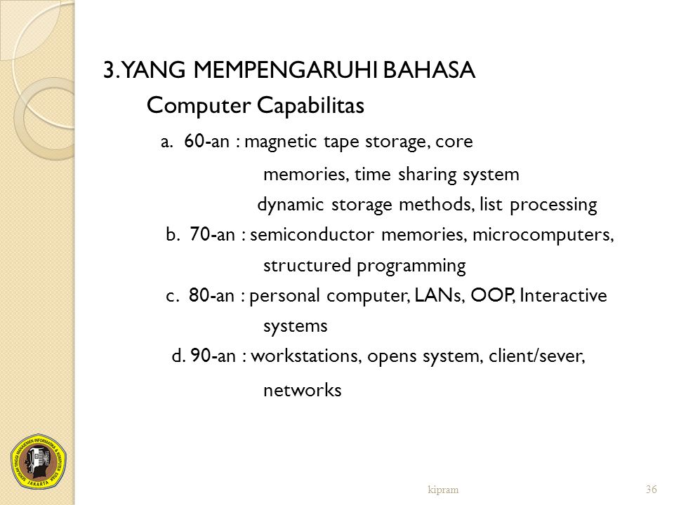 3. YANG MEMPENGARUHI BAHASA Computer Capabilitas a. 60-an : magnetic tape storage, core memories, time sharing system dynamic storage methods, list pr