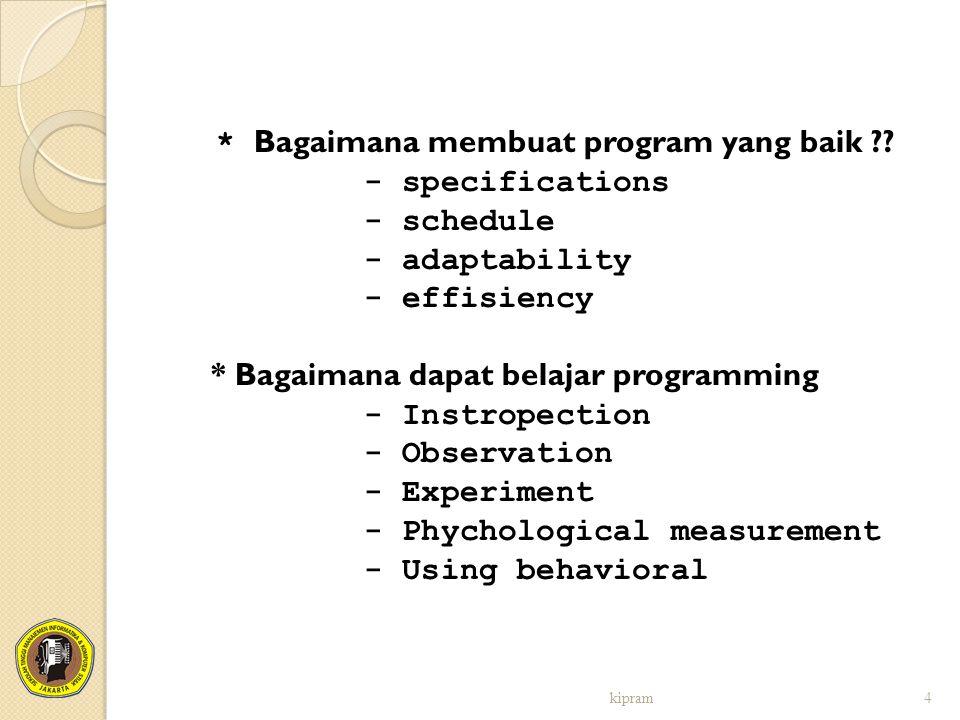 * Bagaimana membuat program yang baik ?? - specifications - schedule - adaptability - effisiency * Bagaimana dapat belajar programming - Instropection