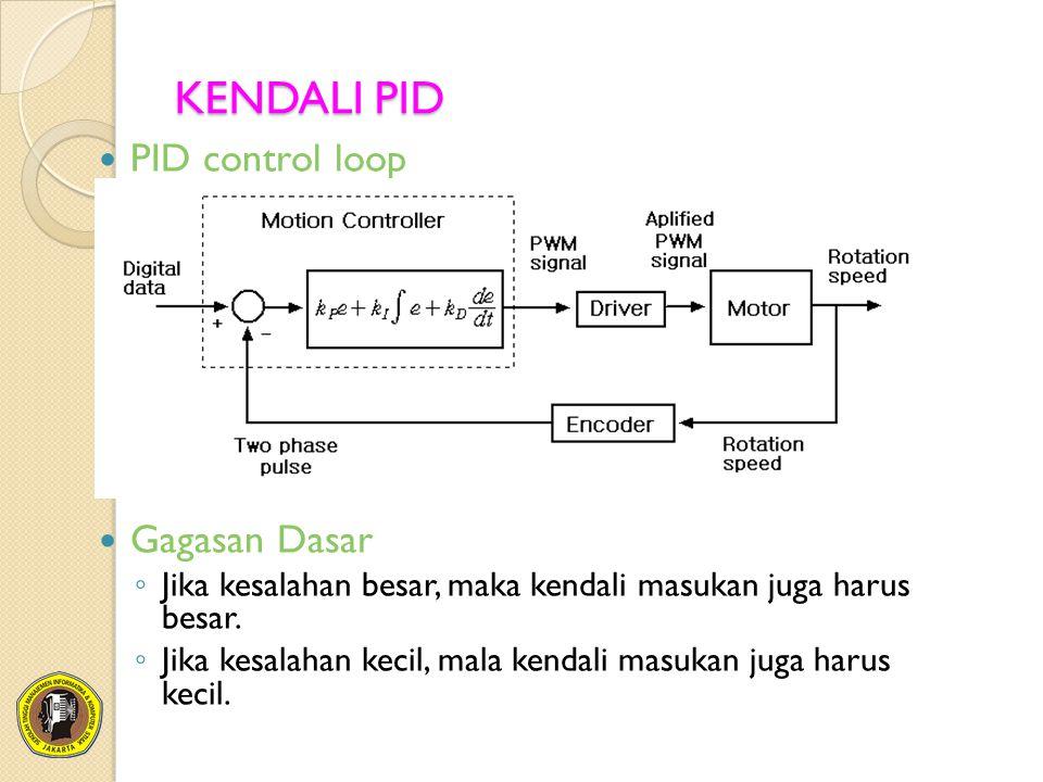 KENDALI PID PID control loop Gagasan Dasar ◦ Jika kesalahan besar, maka kendali masukan juga harus besar. ◦ Jika kesalahan kecil, mala kendali masukan