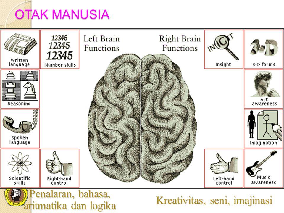 OTAK MANUSIA Penalaran, bahasa, aritmatika dan logika Kreativitas, seni, imajinasi